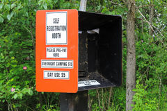 Camping and Day Use Self Registration box.  Stock Photo