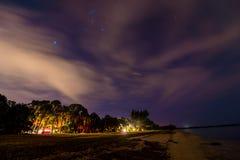 Camping de Desoto del fuerte en la noche la Florida los E.E.U.U. fotografía de archivo