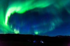 Camping de l'aurore, Islande images libres de droits