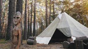 Camping de Yurt en bosque de los tubos en a cámara lenta 1920x1080 almacen de video