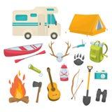 Camping Decorative Icons Set Royalty Free Stock Image