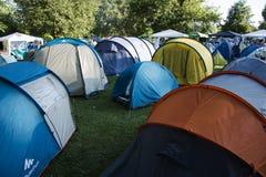 Camping del festival 2015 de la SALIDA Foto de archivo libre de regalías