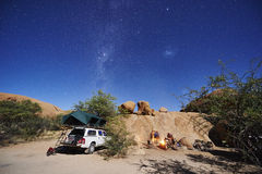 Camping in desert Royalty Free Stock Images