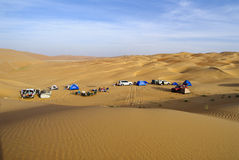 Camping in the desert of sand Stock Photo