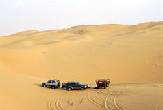 Camping in the desert of sand Stock Image
