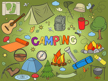 Camping Design Colorful Set Vector Stock Photography