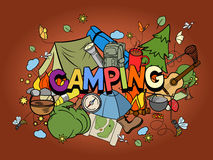 Camping Design Colorful Set Vector Stock Image