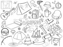 Camping Design Colorless Set Vector Stock Photo