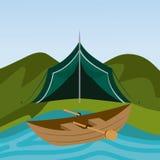 Camping design. Camping design over landscape background, vector illustration Stock Image