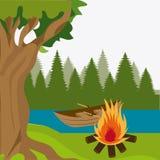 Camping design. Camping design over landscape background, vector illustration Royalty Free Stock Image