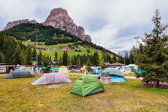 Camping in Dolomites Royalty Free Stock Image
