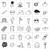 Camping Doodle Icons Stock Photography