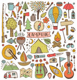 Camping doodle set Royalty Free Stock Photography