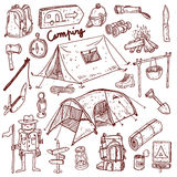 Camping - doodles collection. Hand drawn camping signs on white background Royalty Free Stock Photos