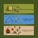 Camping - doodles collection.Vector banner templates set with doodles camping theme Royalty Free Stock Photography