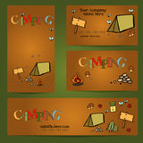 Camping - doodles collection.Vector banner templates set with doodles camping theme Royalty Free Stock Images