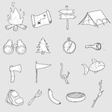 Camping Doodles. This is a set of 17 Camping Doodles Vectors, in black and white Stock Images