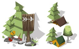 Camping dsign elements. Isometric 3d camping elements for landscape design. Tent and spruce, pointer and brich, butterflies and stone. Vector illustration vector illustration