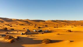 Camping in the Dunes, Awbari Sand Sea, Sahara stock photography