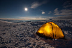 Camping During Winter Hiking In Carpathian Mountain Royalty Free Stock Photos
