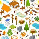 Camping Element or Part Background Pattern Isometric View. Vector Royalty Free Stock Photography