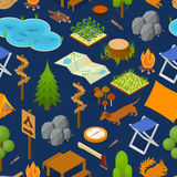 Camping Element or Part Set Background Pattern Isometric View. Vector Stock Images