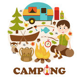 Camping elements and boy stock illustration