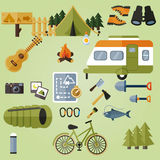 Camping elements, camping equipment. Vector Royalty Free Stock Photos