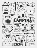 Camping elements doodles hand drawn line icon, eps10 Royalty Free Stock Photo