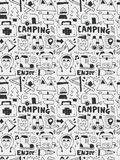 Camping elements doodles hand drawn line icon, eps10 Stock Photography