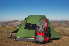 Camping elements equipment . Royalty Free Stock Images