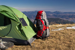 Camping elements. Equipment on top of the mountain stock images