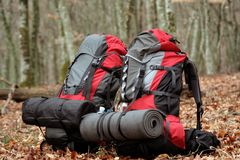 Camping elements/ equipment on top of the mountain. Stock Photos