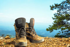 Camping elements/ equipment on top of the mountain. Stock Photography