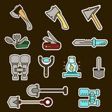 Camping elements outline icons set. linear style symbols collection, line signs pack. vector illustration. Camping elements outline icons set. linear style Royalty Free Stock Photos