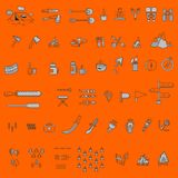 Camping elements outline icons set. linear style symbols collection, line signs pack. vector illustration. Camping elements outline icons set. linear style Stock Photos