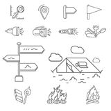 Camping elements outline icons set. linear style symbols collection, line signs pack. vector illustration. Camping elements outline icons set. linear style Stock Image