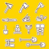 Camping elements outline icons set. linear style symbols collection, line signs pack. vector illustration. Camping elements outline icons set. linear style Stock Photography