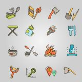 Camping elements outline icons set. linear style symbols collection, line signs pack. vector illustration. Camping elements outline icons set. linear style Royalty Free Stock Images
