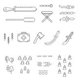 Camping elements outline icons set. linear style symbols collection, line signs pack. vector illustration. Camping elements outline icons set. linear style Stock Photo