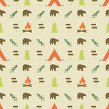Camping elements pattern. Camping seamless wallpaper design.  Royalty Free Stock Photo