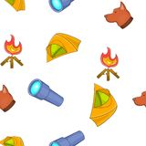 Camping elements pattern, cartoon style Royalty Free Stock Photos