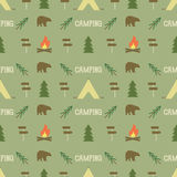 Camping elements pattern. seamless wallpaper design. Equipment for background print. Adventure or gear - tent, bear Royalty Free Stock Image