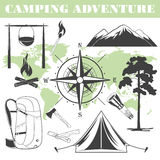 Camping elements. Set of black and white camping elements. Vector silhouettes Stock Image