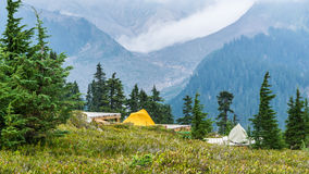 Camping Elfin lake peak Stock Photo