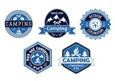 Camping emblems and labels for travel design Royalty Free Stock Photo