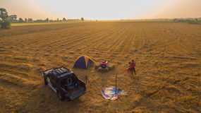 Camping in the empty rice fields stock photo
