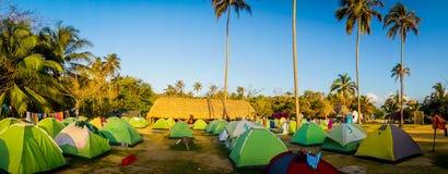 Camping en el parque nacional de Tayrona, Colombia Imagen de archivo libre de regalías
