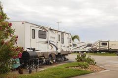 Camping en la bahía de Galveston en Tejas Imagen de archivo libre de regalías
