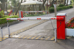 Camping entrance barrier. Closed camping automatic entrance barrier Royalty Free Stock Photos